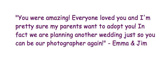 wedding photography testimonial